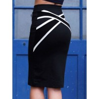 Stylish Women's Criss-Cross Bodycon Skirt black