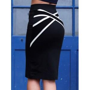 Stylish Women's Criss-Cross Bodycon Skirt black