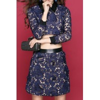 Stylish Women's Flat Collar Lace Suit blue