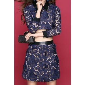 Stylish Women's Flat Collar Lace Suit blue