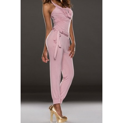 Stylish Women's Halter Lace Splicing Jumpsuit pink