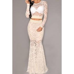 Stylish Women's Jewel Neck Long Sleeve Lace Suit white black