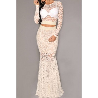 Stylish Women's Jewel Neck Long Sleeve Lace Suit white black
