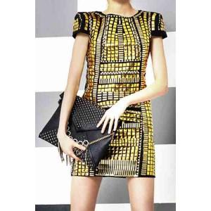 Stylish Women's Jewel Neck Short Sleeve Studded Dress black