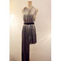 Stylish Women's Round Neck Backless Pleated Dress silver