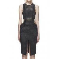 Stylish Women's Round Neck Openwork Backless Fringed Dress black