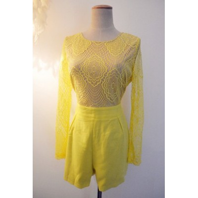 Stylish Women's Scoop Neck Backless Lace Jumpsuit yellow blue