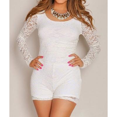 Stylish Women's Scoop Neck Long Sleeve Lace Jumpsuit white black