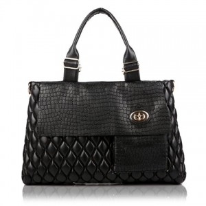 Stylish Women's Shoulder Bag With Checked and Crocodile Print Design black