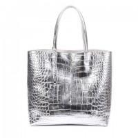 Stylish Women's Shoulder Bag With PU Leather and Snake Print Design silver black