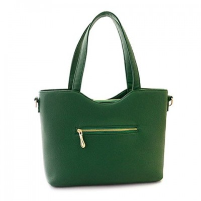 Stylish Women's Shoulder Bag With Solid Color and Metallic Design green blue black