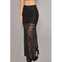 Stylish Women's Side Slit Lined Lace Skirt black