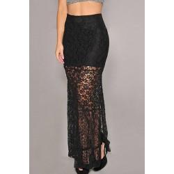 Stylish Women's Side Slit Lined Lace Skirt black
