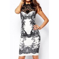 Stylish Women's Stand Collar Backless Lace Splicing Dress white