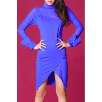 Stylish Women's Stand Collar Long Sleeve Mesh Splicing Dress blue plum
