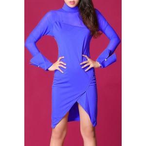 Stylish Women's Stand Collar Long Sleeve Mesh Splicing Dress blue plum