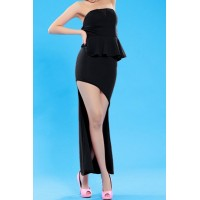 Stylish Women's Strapless Peplum Dress black orange white