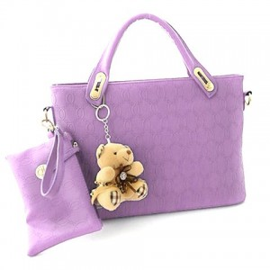 Stylish Women's Tote Bag With Small Wallet and Bear Design purple blue white