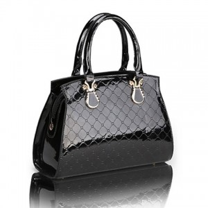 Stylish Women's Tote Bag With Solid Color Checked Design black blue red