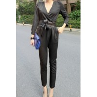 Stylish Women's V-Neck 3/4 Sleeve Solid Color Jumpsuit black white khaki