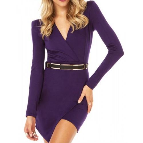 Stylish Women S V Neck Long Sleeve Asymmetric Dress With Belt Purple