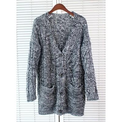 Stylish Women's V-Neck Long Sleeve Chunky-Knit Cardigan gray