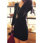 Stylish Women's V-Neck Long Sleeve Solid Color Knitted Dress black