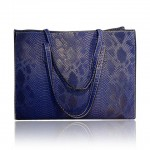 Trendy Women's Shoulder Bag With Snake Print and PU Leather Design blue white black