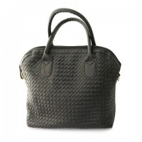 Trendy Women's Shoulder Bag With Weaving and PU Leather Design black and white