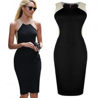 TS Sexy Contrast Color High Waist Bandege Bodycon Dress black