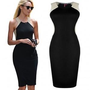 TS Sexy Contrast Color High Waist Bandege Bodycon Dress black