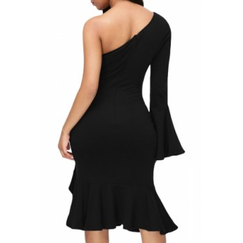 Twist and Ruffle Accent One Shoulder Prom Dress