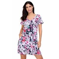 Vintage Pocket Design Summer Floral Shirt Dress