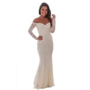 White Crochet Off Shoulder Maxi Evening Party Dress Black