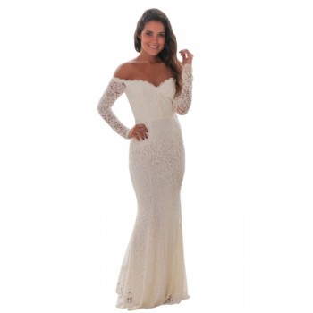 White Crochet Off Shoulder Maxi Evening Party Dress Black
