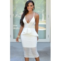 White Elegant V Neck Crisscross Peplum Dress