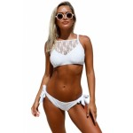 White Lace High Neck Tankini Black