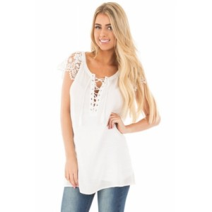 White Lace Sleeves Lace up Tunic Top Red Pink