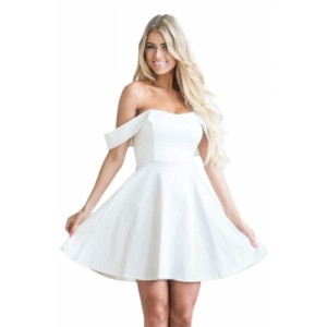 White Off The Shoulder Flare Babydoll Dress Black