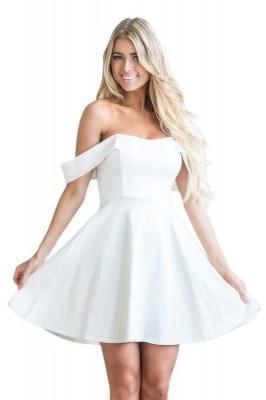 White Off The Shoulder Flare Babydoll Dress Black
