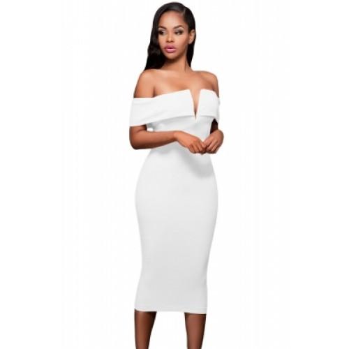 4a12abdd32 White Off-the-shoulder Midi Dress (White Off-the-shoulder Midi Dress ...