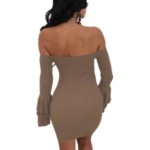Wine Off The Shoulder Ruffled Sleeve Ribbed Mini Dress brown