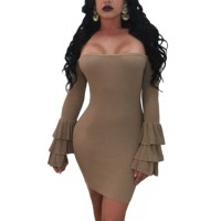 Wine Off The Shoulder Ruffled Sleeve Ribbed Mini Dress brown