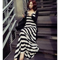 Women's Bohemia Long Sun Dress black white