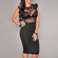 Women's Lace Back Zipper Sexy Dress black