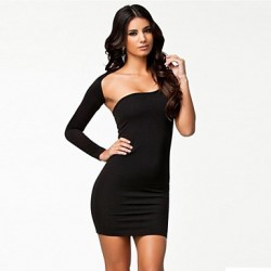 Women's Sexy Night Party Asymmetrical Shoulder Mini Dress black
