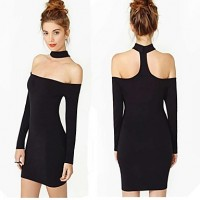 Women's Sexy Off Shoulder Long Sleeve Pencil Halter Mini Dress black