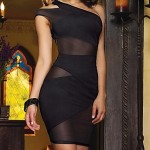 Women's Sexy One-shoulder Mesh Splicing Bodycon Dress black purple