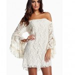 Women's Spring Sexy Bateau Ruffle Lace Dress white