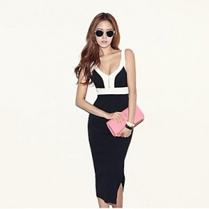 Women's Summer Sexy Bodycon Strap Dress black